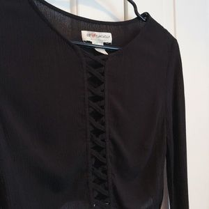 H&M Coachella Collection Black Cropped Long Sleeve